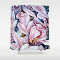 magnolia Shower Curtains featuring magnolia by Eva Lesko