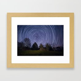 Star Trails Over the Hill Framed Art Print