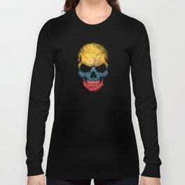 Dark Skull with Flag of Colombia Long Sleeve T-shirt