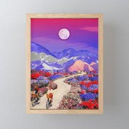 Riding under the moon Framed Mini Art Print