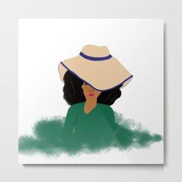 Fashion Lady In Hat Metal Print