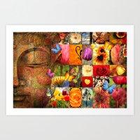 buddha Art Prints featuring buddha  by mark ashkenazi