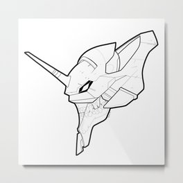 Eva Unit 01 - Skeletal Black and White Metal Print