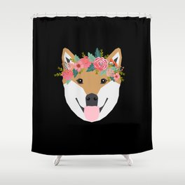 Shiba Inu floral crown dog with flowers pet art pure breed shiba inus Shower Curtain