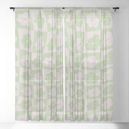 Retro Wavy Check Floral - Lilac + Sage Sheer Curtain