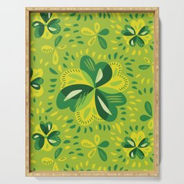 Three Leaf Clovers Spring Green Pattern Serving Tray