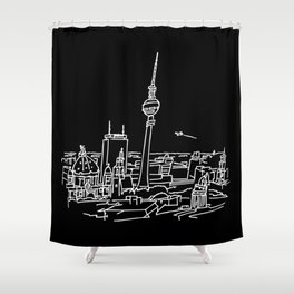 Panorama of Berlin with TV-tower Shower Curtain