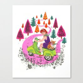 Vespa Girl Canvas Print