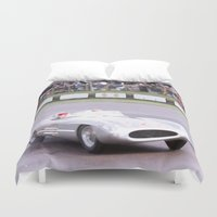 mercedes Duvet Covers featuring Mercedes Benz Silberpfeil with Stirling Moss by Premium