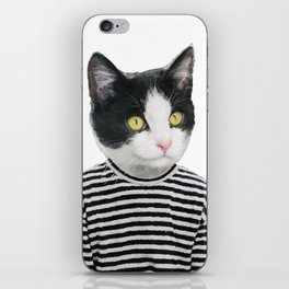 Black and White Cat Portrait iPhone Skin
