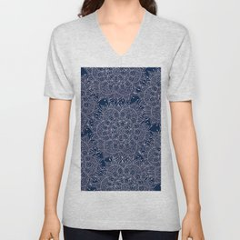 Modern navy blue blush pink watercolor floral mandala Unisex V-Neck