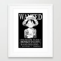 luffy Framed Art Prints featuring WANTED - Luffy by josemaHdeH