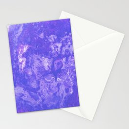 purple blue lilac paint in monotype technique, abstract texture marble, granite Stationery Cards