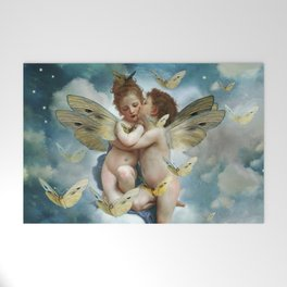 """Angels in love in heaven with butterflies"" Welcome Mat"
