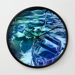 pen and ink boats blue Wall Clock