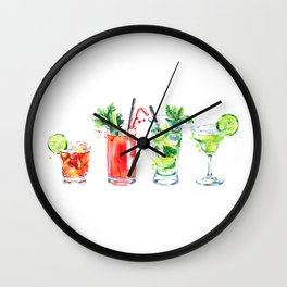 Four Cocktails - Watercolour Drinks - Party Print Wall Clock