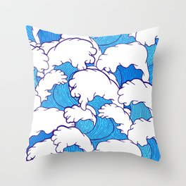 Waves of the high tide Throw Pillow