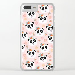 Panda bear with flowers seamless pattern Clear iPhone Case