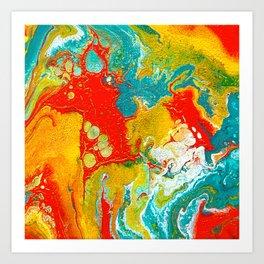 Colorful Fluid Acrylic Art Art Print