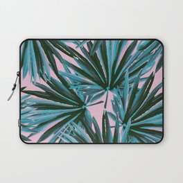 Tropical Palm Leaves in Botanical Green + Pink Laptop Sleeve