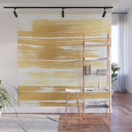 Abstract faux gold white modern paint brushstrokes Wall Mural