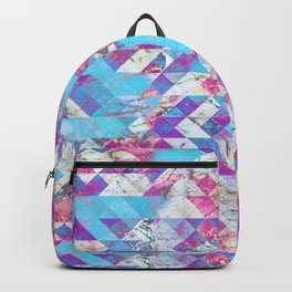 Blue magenta marble grungy triangles Backpack