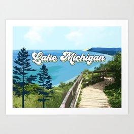 Lake Michigan Retro Art Print