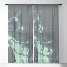 Teal Resting Bitch Face Portrait Sheer Curtain