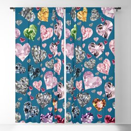 Heart Diamonds are Forever Love Blue Blackout Curtain