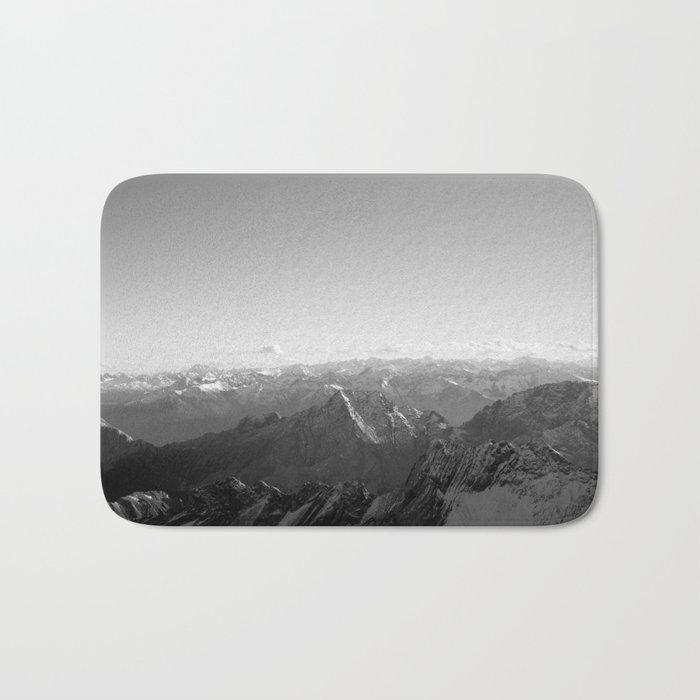 Mountain Alps Black and White Photography Europe Bath Mat