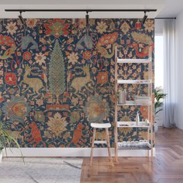 17th Century Persian Rug Print with Animals Wall Mural