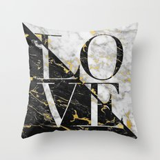 LOVE // Gold Flecked Black & White Marble Throw Pillow
