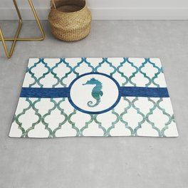 Seahorse: Tropical Water Moroccan Pattern Rug