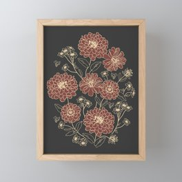 Floral pattern (zinnia, marigold, and daisy flowers) Framed Mini Art Print