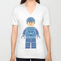 tron V-neck T-shirts featuring Tron Lego by Ant Atomic