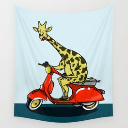Giraffe riding a moped Wall Tapestry
