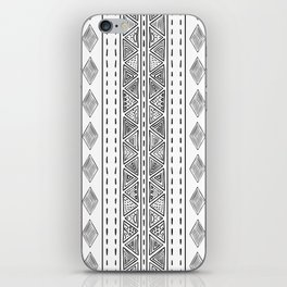 Mud Cloth White and Black Vertical Pattern iPhone Skin