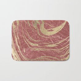 Elegant burgundy faux gold stylish modern marble Bath Mat