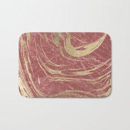 Elegant burgundy faux gold stylish modern marble Bath Mat
