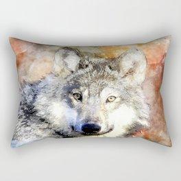 Wolf Animal Wild Nature-watercolor Illustration Rectangular Pillow