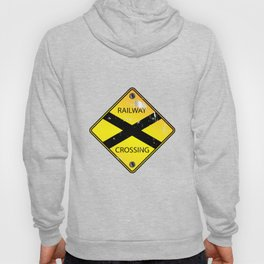 Yellow Railway Crossing Sign Hoody
