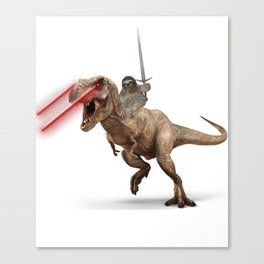Awesome Sloth Riding Laser Dinosaur with Claymore Canvas Print