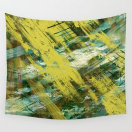 Hidden Meaning - Abstract, oil painting in yellow, green, blue, white and brown Wall Tapestry