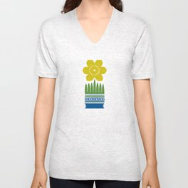 Nordic Yellow Flower Unisex V-Neck