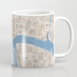 New Orleans Cobblestone Watercolor Map Coffee Mug