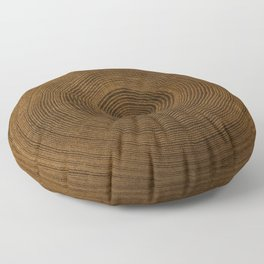 Detailed rich dark brown cut wood tree with growth rings pattern Floor Pillow