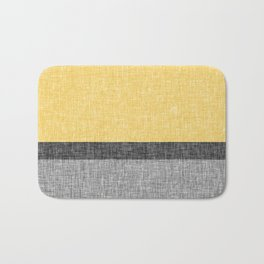 Yellow Grey and Black Section Stripe and Graphic Burlap Print Bath Mat