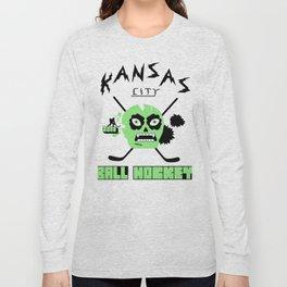 Kansas City Ball Hockey Thrashed Skull [Green] Long Sleeve T-shirt