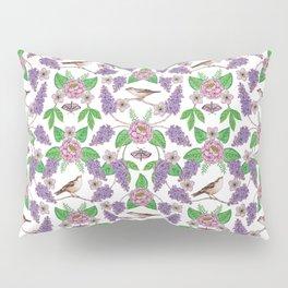 Lilacs, Peonies, Hellebore, & Sparrows - Pink & Purple Flowers w/ Birds & Moths Pillow Sham