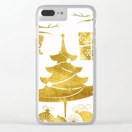 Gold Christmas 03 Clear iPhone Case